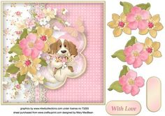 Doggie and Flowers with Lace Decoupage Card Front on Craftsuprint - View Now!