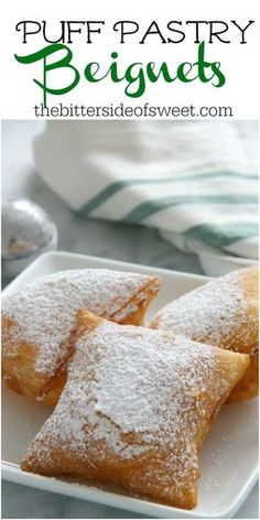 Pastry Beignets are here for you when you're ready to let the good times ro. -Puff Pastry Beignets are here for you when you're ready to let the good times ro. Puff Pastry Desserts, Köstliche Desserts, Delicious Desserts, Dessert Recipes, Yummy Food, Puff Pastries, Sweet Puff Pastry Recipes, Apple Turnovers With Puff Pastry, Easy Puff Pastry Recipe