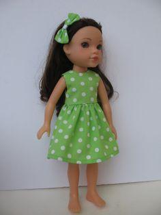 Green & white polka dot dress for H4H doll