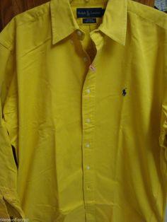 RALPH LAUREN POLO BLAKE Shirt MEDIUM M Gold Long Sleeve Button Front Dress #RalphLauren #ButtonFront #Blake