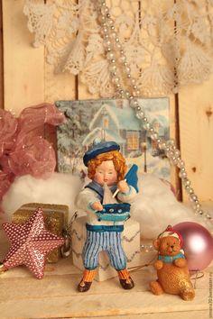 """Купить Ватная игрушка """" Мальчик в матроске"""" - синий, ватная игрушка, морской стиль, мальчик"""