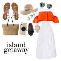 """island getaway 🌴🌴"" by prettypearl0764 ❤ liked on Polyvore featuring Alberta Ferretti, Prada, Olivia Burton and Kate Spade"