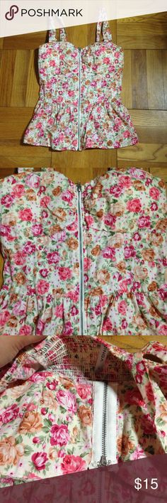 "Floral Blouse Baby Doll size Large Measurements: 15"" length 13"" width pit to put zinga Tops Blouses"