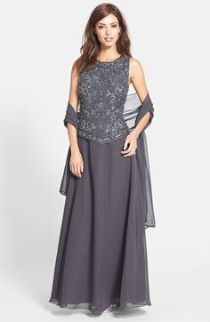 J Kara Embellished Chiffon Gown with Shawl (Regular & Petite) available at #Nordstrom