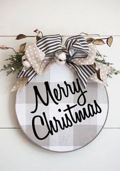 This unique Farmhouse Christmas wreath is made of Natural and Cream Buffalo Plaid Fabric with Merry Christmas in black lettering in a embroidery hoop. The hoop has a custom barn wood finish. This custom finish is a gray brown finish much like the Printer Noel Christmas, Christmas Signs, All Things Christmas, Winter Christmas, Christmas Wreaths, Christmas Ornaments, Christmas Door Hangers, Christmas Movies, Christmas Quotes
