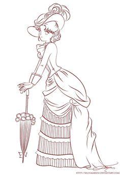 Lineart - Vintage Lady Serenity by selinmarsou.deviantart.com on @DeviantArt