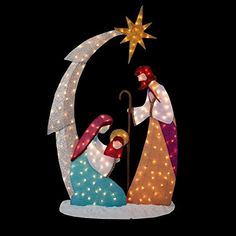 KNLSTORE Tall Christmas Lighted Nativity Scene Display w/ Holy Family Mary Joseph Baby Jesus Star of Bethlehem Clear Lights Decor Tinsel Outdoor Holiday Yard Decoration KNL Store Large Outdoor Christmas Decorations, Decorating With Christmas Lights, Outdoor Nativity Sets, Christmas Nativity Set, Holiday Ornaments, Nativity Ornaments, Holy Family, Baby Jesus, Nativity Silhouette