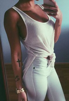ribbed tank + white jeans