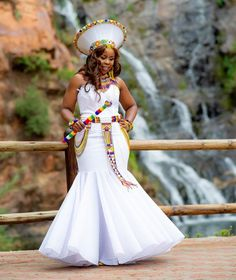 Zulu Traditional Outfit Dresses for African bride Wedding Zulu Traditional Wedding Dresses, Zulu Traditional Attire, South African Traditional Dresses, Traditional Dresses Designs, Traditional Outfits, Traditional Weddings, Latest African Fashion Dresses, African Print Dresses, African Dress