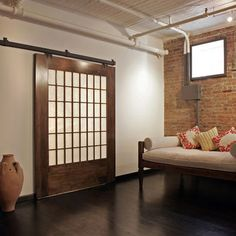 Shoji Barn Door, nice mix of media this. Living Room Design, Pictures, Remodel, Decor and Ideas - page 29