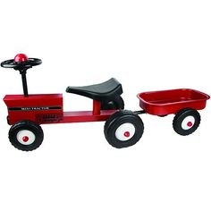 Great Gizmos Tractor & Trailer Kids Ride On, Your children will have lots of fun riding around on this fantastic red tractor with trailer. . It is constructed from a strong metal which makes this car very stable. Children can ride around all day pretending to be a farmer on their farm or use their tractor and trailer to help out their parents in the garden. This tractor also includes a trailer which can be used for their favourite toys or can be filled with weeds to help out with the…