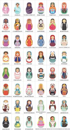 world Matryoshkas...Please note that the Portuguese matryoshka is the only one giving side eye. perfect! (except her hair is too light) | Art