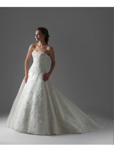 Chiffon Sweetheart Neckline Fitted Embroidered Bodice A-line Wedding Dress