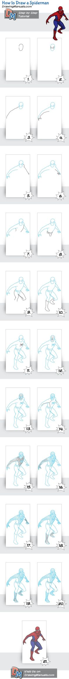 How to Draw Spiderman - Visit to grab an amazing super hero shirt now on sale! Spiderman Drawing, Drawing Superheroes, Disney Drawings, Cartoon Drawings, Art Drawings, Drawing For Kids, Drawing Tips, Drawing Ideas, Ap Studio Art
