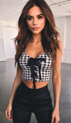 summer outfits Gingham Lace-up Crop + Black Skinny Pants