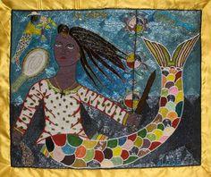 "Indigo Arts Gallery--Vodou Banner ""La Sirene"" by Evelyn Alcide, Haiti"