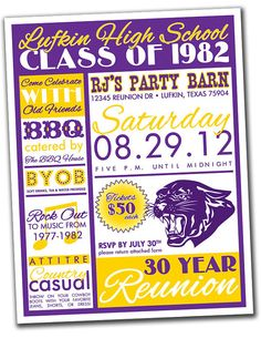 Reunion Invitation Package - High School, College, Family - You print or email via Etsy 10 Year Reunion, High School Class Reunion, High School Classes, Class Reunion Invitations, Class Reunion Decorations, Event Organization, Grad Parties, Party Planning, Invitation Layout