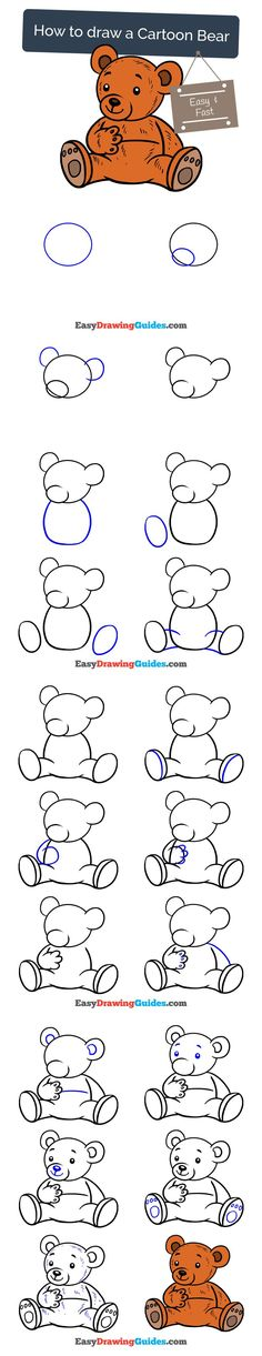 Learn How to Draw a Cartoon Bear: Easy Step-by-Step Drawing Tutorial for Kids and Beginners. #bear #teddybear #cartoon #drawing #tutorial. See the full tutorial at https://easydrawingguides.com/draw-cartoon-bear/