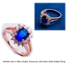 Size 9 Deep Blue Cubic Zirconia + Accents  18k Rose Gold Filled Ring + Box #Unbranded #Cocktail