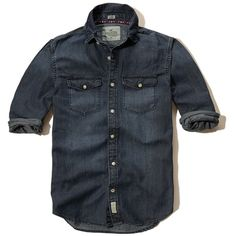 Hollister Dark Wash Denim Shirt ($50) ❤ liked on Polyvore featuring men's fashion, men's clothing, men's shirts, men's casual shirts, dark wash, mens slim fit button down shirts, mens slim fit shirts, mens button shirts, mens pocket t shirts and mens denim button down shirt
