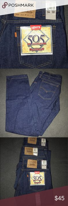 """👖 Levi's 505 Straight Jeans NWT 👖 Levi Strauss & Co. 505 Jeans 👖 NWT 👖 34 x 32 Regular Fit 👖 Straight Leg, 16 1/2"""" Opening 👖Sits at Waist 👖 Extra Room Through Hip & Thigh 👖 100% Cotton Twill 👖 3 Front Pockets, 2 Back Pockets 👖 Smoke Free Home 👖 Fast Shipping Levi's Jeans Straight"""