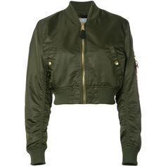Alpha Industries Cropped Bomber Jacket ($153) ❤ liked on Polyvore featuring outerwear, jackets, green cropped jacket, alpha industries, blouson jacket, flight jacket and bomber jacket