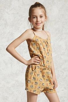 Forever 21 Girls - This stretch knit romper features an allover elephant print, cami straps, a round neckline, elasticized waist, and front slip pockets.