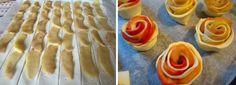 Per 8 roselline: - 1 rotolo di pasta sfoglia rettangolare - 2 mele Fuji - 1 cucchiaino colmo di miele di acacia - un cucchiaino scarso di cannella in polvere - una noce di burro - zucchero al velo  Lavare le mele, togliere i torsoli e tagliarle a fette sottili senza togliere la buccia.  In una larga padella fare sciogliere il burro e il miele di acacia. Aggiungere mezzo bicchiere di acqua tiepida e la cannella in polvere quindi adagiarvi le fette di mele. Cuocere a fuoco medio fino a q