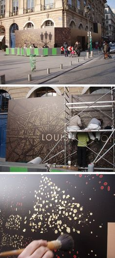 External hoarding for Louis Vuitton jewellery boutique on Paris' Place Vendome by Spring Creative. Based around the formation of star constellations, thousands of tiny dots would replicate the stellar environment whilst mirroring the Parisian cityscape by night. #Louis #Vuitton #design