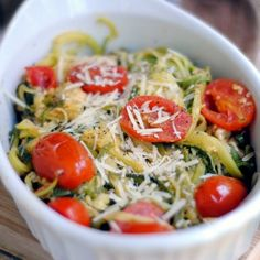 Side Dishes with zucchini, grape tomatoes, shredded parmesan cheese ...