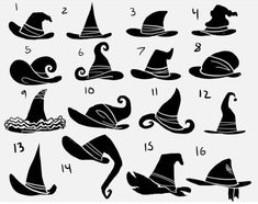 Eri Kawakami: witch hat silhouettes/// hers is # 1 Felt Witch Hat, Diy Witch Hat, Felt Hat, Witch Drawing, Hat Tutorial, Wreath Tutorial, Hat Crafts, Poses References, Witch Art