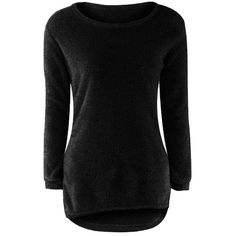 Yoins Black Round Neck Long Sleeves Sweater Top (125 HKD) ❤ liked on Polyvore featuring tops, sweaters, black, long sleeve sweater, ruffle hem sweater, long sleeve tops, ruffle hem top and round neck sweater