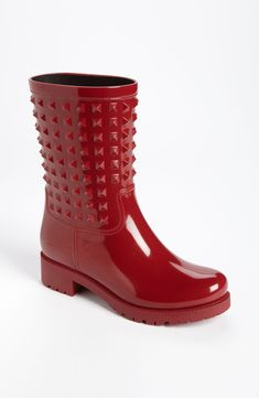 Crushing on these red Valentino 'Rockstud' rain boots.