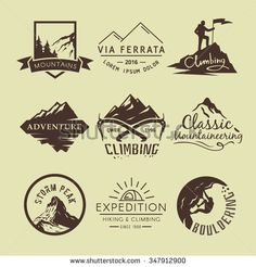 Set of vintage labels on the theme of Climbing, Trekking, Hiking, Mountaineering. Extreme sports, outdoor recreation, adventure in the mountains, vacation. Achievement.  - stock vector