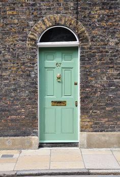 Mint green door in Waterloo, London