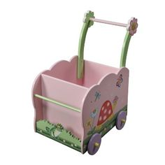 Magic Garden Push Cart by Teamson        Material Wood      Hand painted and Hand carved      This gorgeous cart, can help a toddler with stability when walking, also to cart toys in and storage, with the same token enhancing your child's room.      L 560 x W 355 x H 510mm      some assembly required