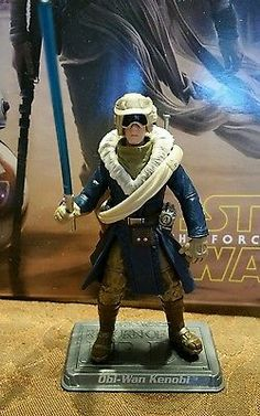Cold Weather Obi-Wan Kenobi Figure 3.75in With Labeled  Stand Star Wars Hasbro