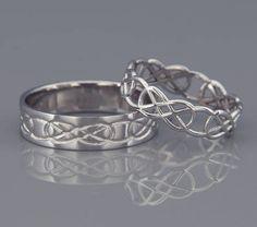 14K White Gold Celtic Knot Wedding Rings Set  Handmade 14k