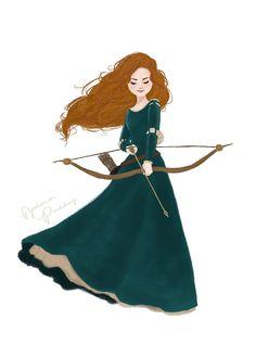 Merida by Jenna Paddey Art Disney Nerd, Disney Fan Art, Disney Girls, Disney Dream, Disney Love, Disney Magic, Disney Fairies, Disney Princess Merida, Princesa Disney