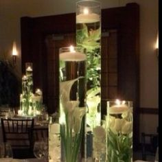 Centerpiece Tube Vase Water Flowers & Floating Candle, Light 3 HeightsThe Magic Number For Piece.