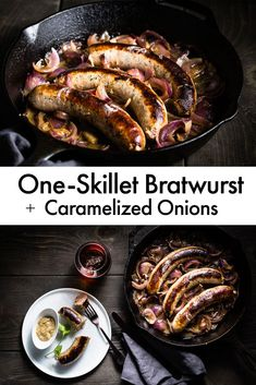 One-Skillet Bratwurst + Caramelized Onions. This is the best, simplest and most delicious way to cook bratwurst sausage. It takes just one-skillet and 20 minutes. Fabulous for a weeknight meal or a party. Bratwurst Recipes Skillet, How To Cook Bratwurst, Brats Recipes, How To Cook Brats, Bratwurst Sausage, Onion Recipes, Sausage Recipes, Beef Recipes, Cooking Recipes
