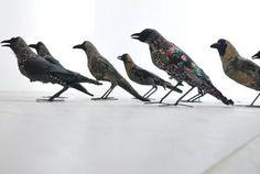 the art room plant: Textile Artist, fabric crows, textile art