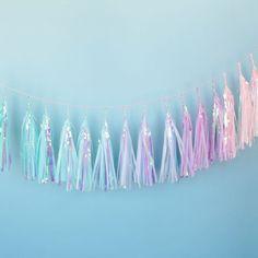 "Our signature iridescent ""jellyfish"" tassels in a rainbow of pastel mermaid colors. You totally need this DUH! Standard Mermaid Rainbow Tassel Garland: T Mermaid Birthday, Unicorn Birthday Parties, Unicorn Party, Birthday Ideas, 21st Birthday, Tassel Garland, Garlands, Festa Party, Decoration"
