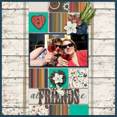 Friends Always There - digital scrapbook layout I created using Friendsgiving grab bag and Always There Templates by Mandy King at Gotta Pixel and Gingerscraps. I love the blocked design of the template and the wooden papers, lovely elements and friendship and thanksgiving words and embellisments of the grab bag.