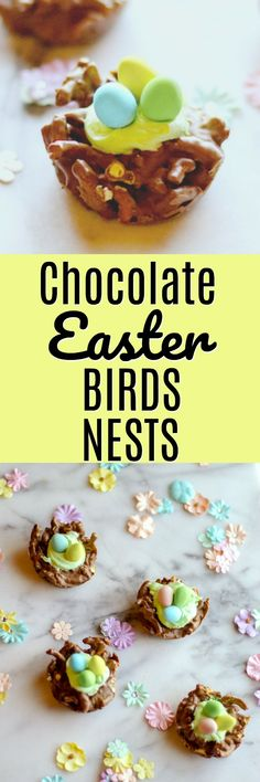 These Chocolate Easter Birds Nests are super quick to cook up and the pretzels and chocolate make a delicious sweet and salty Easter treat! They are no-bake AND only use 5 ingredients!  #easter #eastertreat #easterdessert #easterbasket #eastercrafts #birdsnest #springdessert