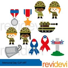 Memorial Day clip art set includes 11 graphics. Soldiers, medals, tank, patriotic ribbons, army tag, and grave headstone. A great collection for Memorial Day theme projects.Great resource for any school and classroom projects such as for creating bulletin board, printable, worksheet, classroom decor, craft materials, activities and games, and for more educational and fun projects.You will receive:- Each clipart saved separately in PNG format, 300 dpi with transparent background.- Each…