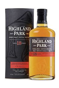 Highland Park 18--my favorite scotch. A beautifully balanced single malt. I've been lucky enough to go to the distillery, which made me love HP even more.