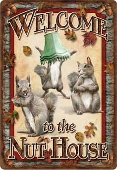 "welcome hunting signs | Welcome To The Nut House"" - Funny Squirrel Tin Sign (Large - 12"" x 17 ..."