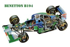 The Benetton designed by Rory Byrne, was the car with which Michael Schumacher won the 1994 Formula 1 World Championship title. Michael Schumacher, Benetton, Nascar, Car Brochure, Formula 1 Car, Ferrari F1, Car Illustration, Bicycle Race, Car Drawings
