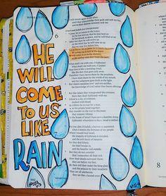 HE will come to us like RAIN. Hosea 6:3 #lilmommab #biblejournaling #documentedfaith #illistratedfaith